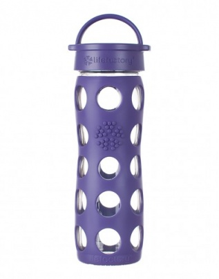 Lifefactory 16oz Glass Bottle with Classic Cap - Royal Purple