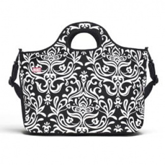 Duffle Tote - Medium Damask Black & White