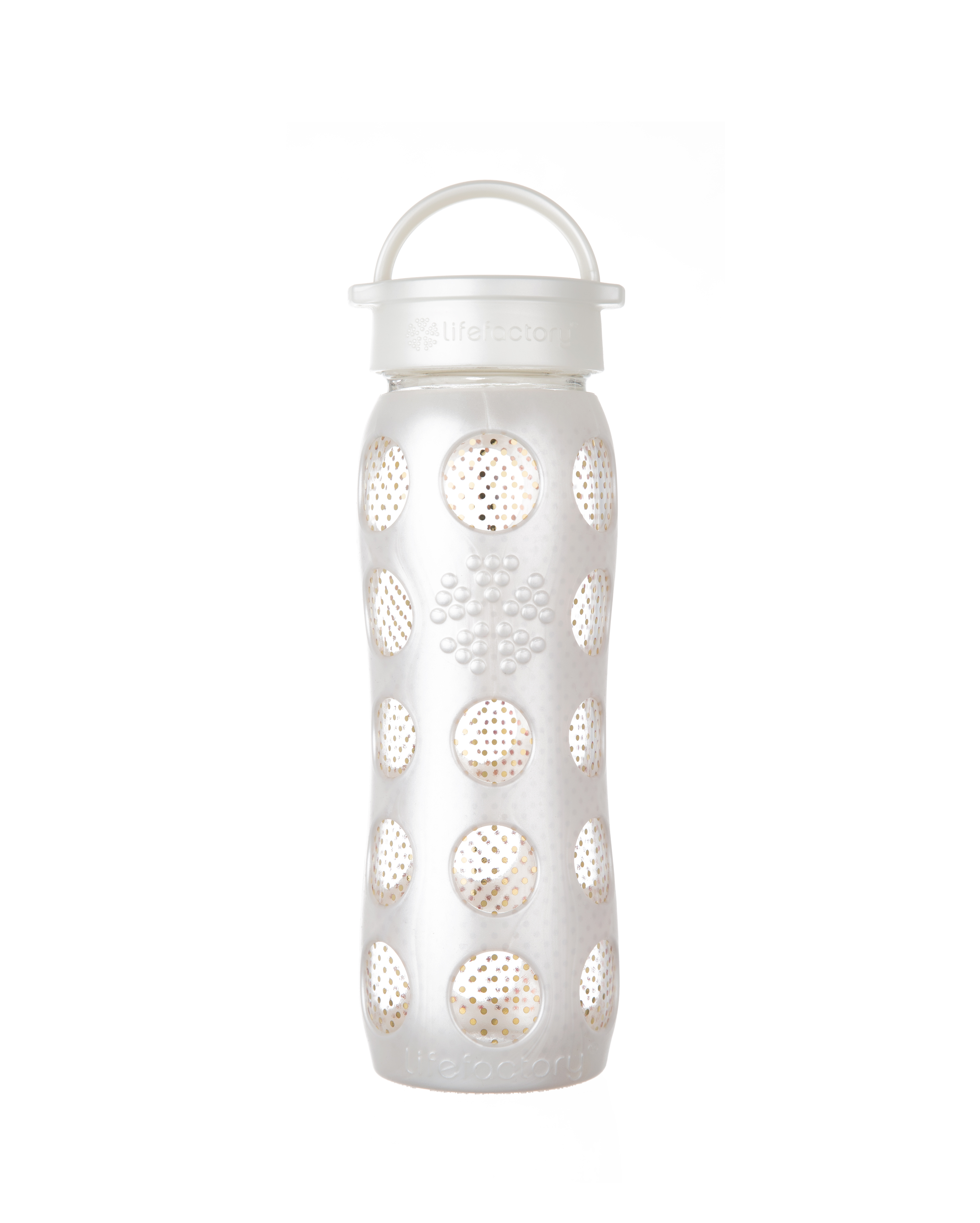 Lifefactory 22 oz Glass Bottle with Fused 24 carat Gold - Pearl Dot