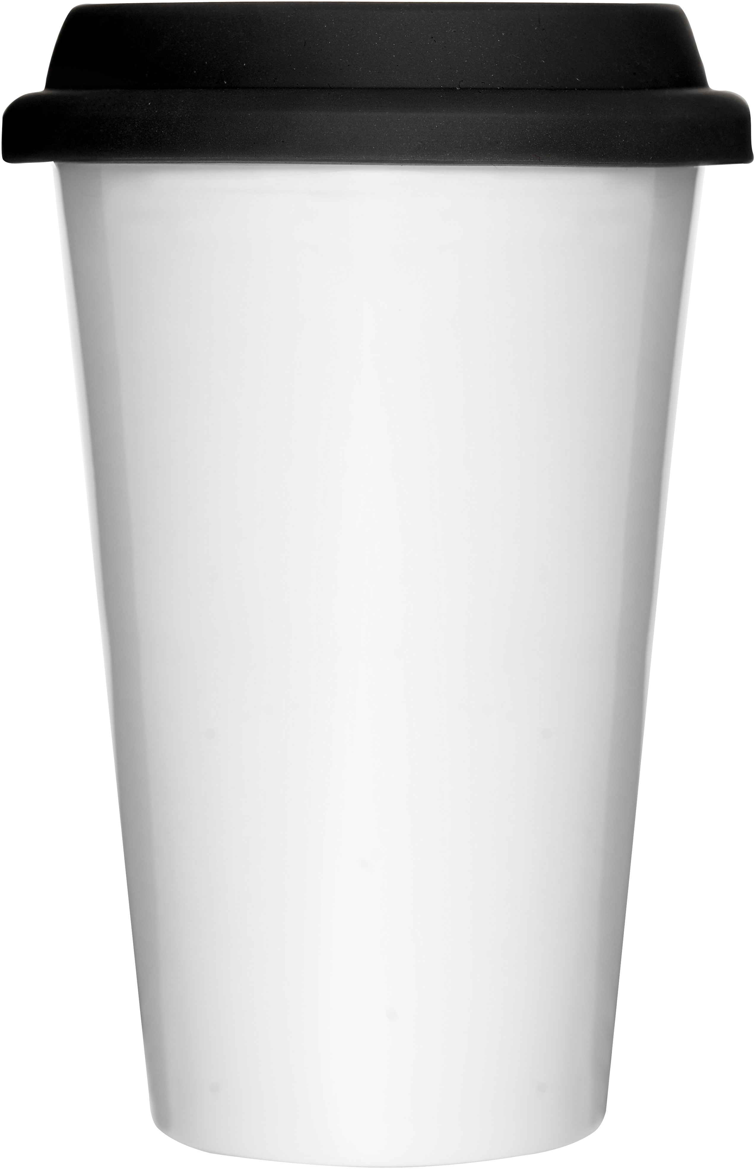 White travel mug with silicone lid