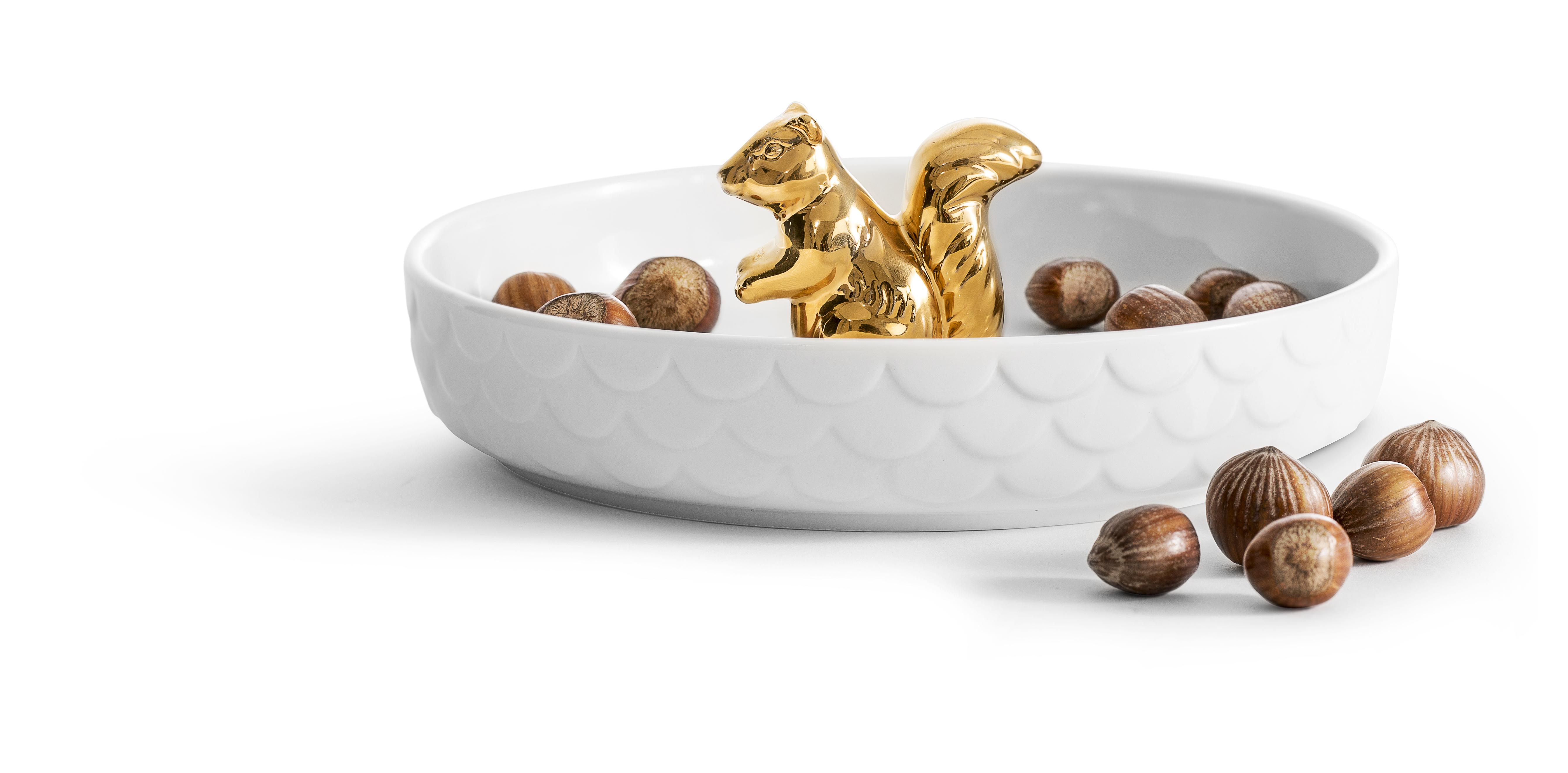 Squirrel serving plate gold