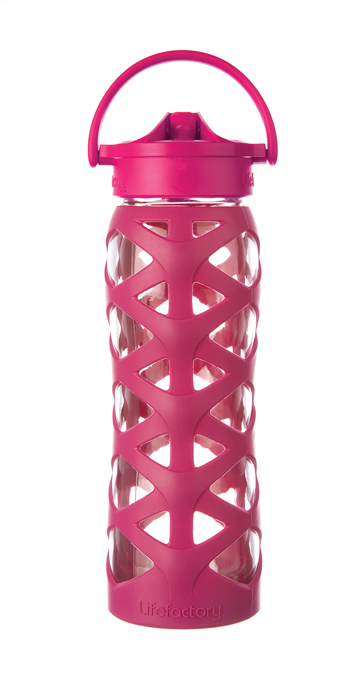 Lifefactory 22 oz Glass Bottle with Axis Straw Cap - Guava