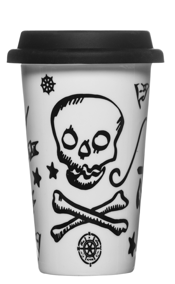 Tattoo travel mug with silicone lid