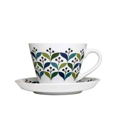 Retro teacup with saucer