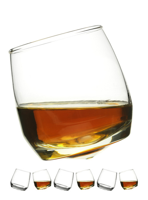 Club whiskey glasses, rounded base, 6-pack