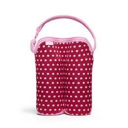 Bottle Buddy: Two Bottle Tote Baby Pink Mini Dots